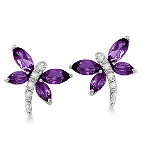 Allurez Diamond and Amethyst Dragonfly Earrings 14k White...