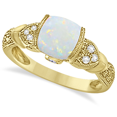 Tanzanite, Diamond and Opal Ring 14k Yellow Gold (1.10ct)