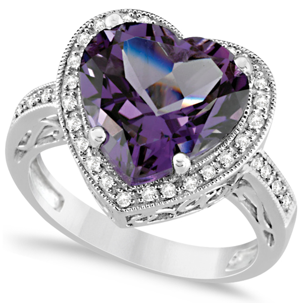 7e00658fc Heart Shaped Amethyst & Diamond Ring Halo 14K White Gold 5.41ct - RE681