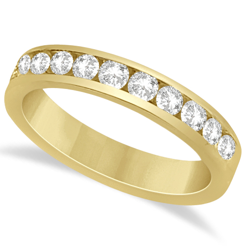 46786e88ded69 Channel Set Moissanite Anniversary Ring Band 14K Yellow Gold 0.66ctw