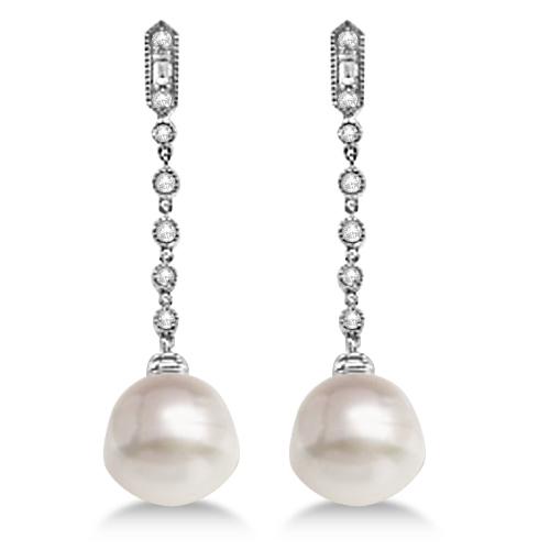 Paspaley Cultured South Sea Pearl Diamond Earrings 14k W Gold 11mm