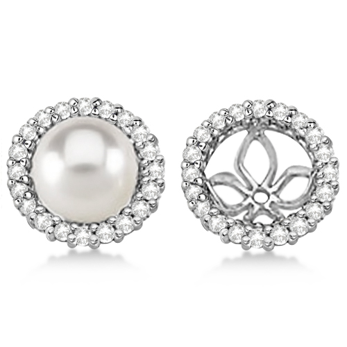 Diamond Earring Jackets For Pearl Studs 14k White Gold 0 63ct