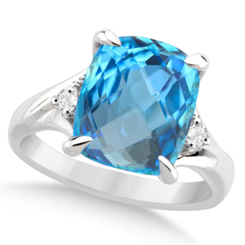 Solitaire Diamond and Swiss Blue Topaz Ring 14k White Gold (7.13ct)