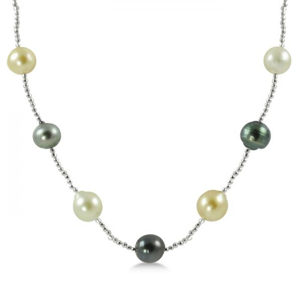 Multicolored Freshwater and Tahitian Pearl Necklace 14K White Gold 8.9mm