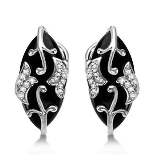 Diamond and Black Onyx Earrings Floral 14K White Gold 15.92ctw