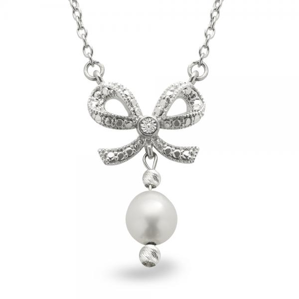 Freshwater Pearl, Etched Bow Pendant Necklace Sterling Silver 6.5-7mm