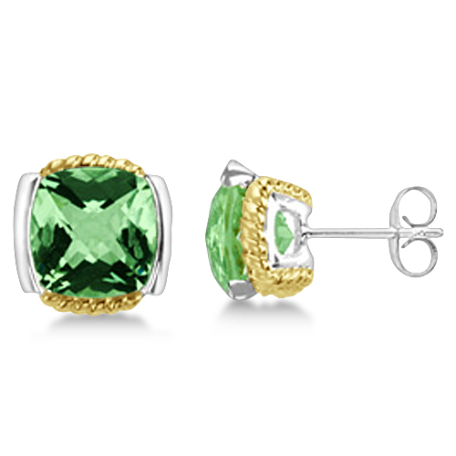 Cushion Green Quartz Stud Earrings 14k Gold & Sterling Silver (8.40ct)