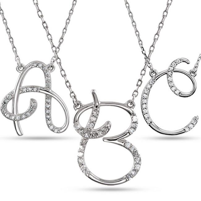 Personalized diamond cursive initial pendant necklace 14k white gold personalized diamond cursive initial pendant necklace 14k white gold aloadofball Choice Image