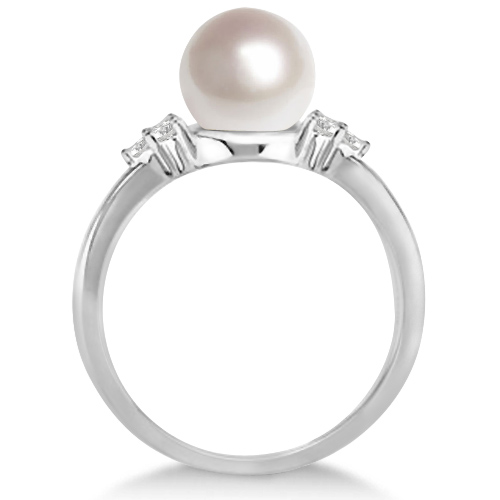Freshwater Cultured Pearl & Diamond Accented Ring 14K W. Gold (7-8mm)