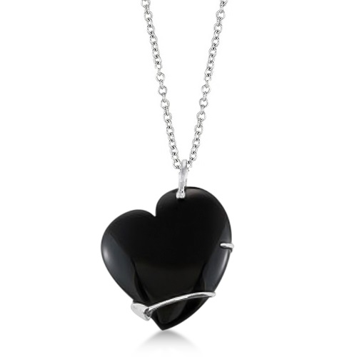 Ladies Black Onyx Heart Pendant Sterling Silver Flower Design 49.02ctw
