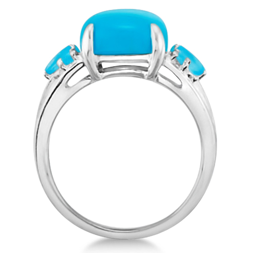 Genuine Turquoise Ring with Blue Topaz Accent Sterling Silver 7.55ctw