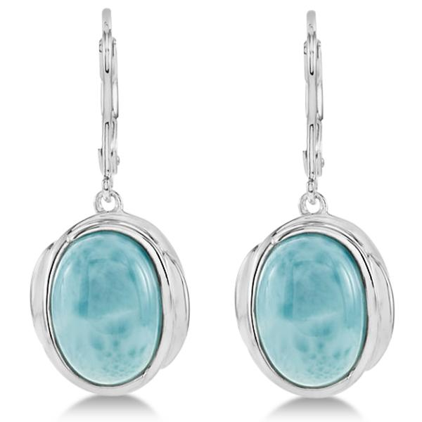 Oval Larimar Gemstone Lever Back Earrings Sterling Silver 6.70ct