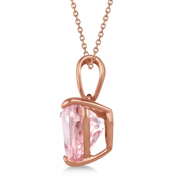 Solitaire Morganite Heart Pendant Necklace 14 Rose Gold (1.50ct)