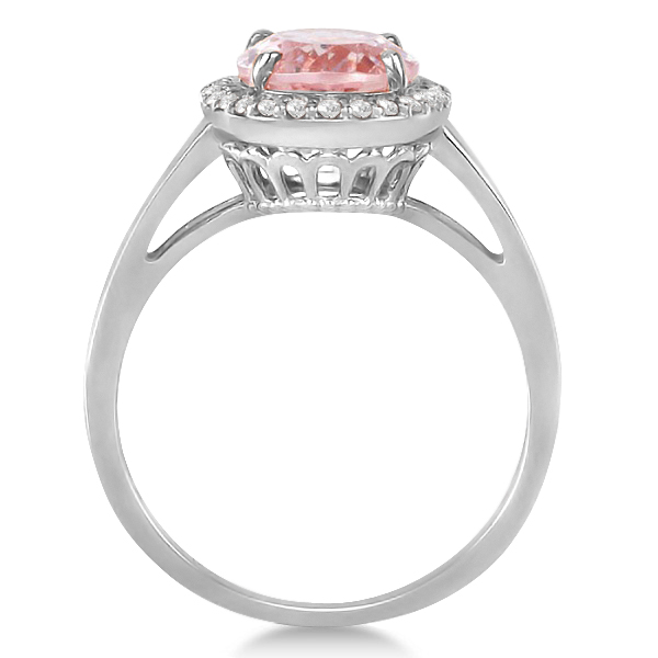 Diamond and Oval Pink Morganite Ring in 14K White Gold (2.43ct)