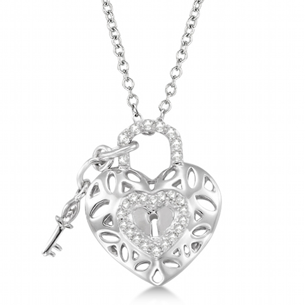 Diamond heart key and lock pendant necklace sterling silver 016ct diamond heart key and lock pendant necklace sterling silver 016ct mozeypictures Image collections