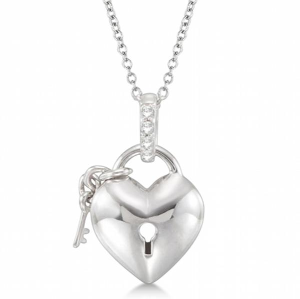 Puffed Heart Lock and Key Diamond Necklace in Sterling Silver (0.05ct)
