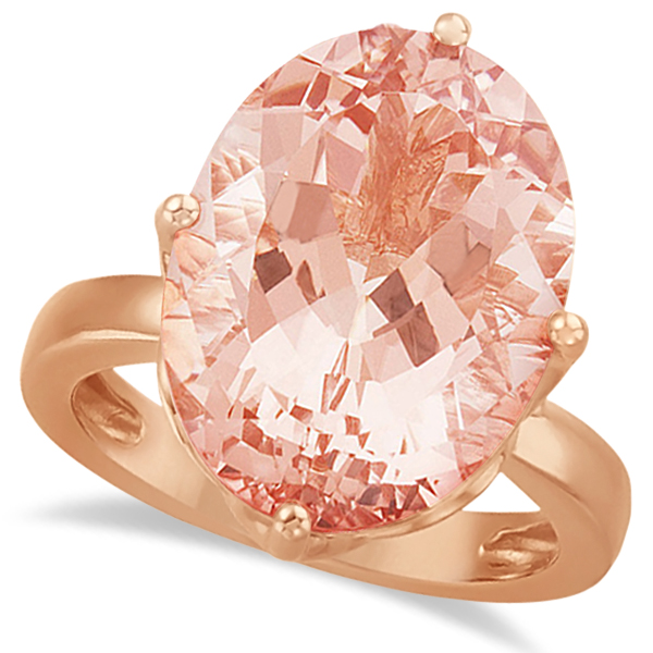 Allurez Solitaire Style Oval Morganite Ring 14k Rose Gold...