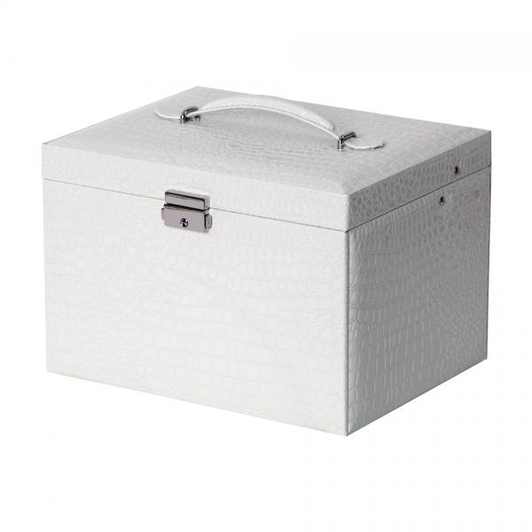 Drop Front Locking Jewelry Box in White Croco Faux Leather w/ Handle