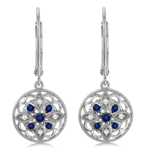 Diamond and Sapphire Earrings Flower Design Sterling Silver (0.19ct)