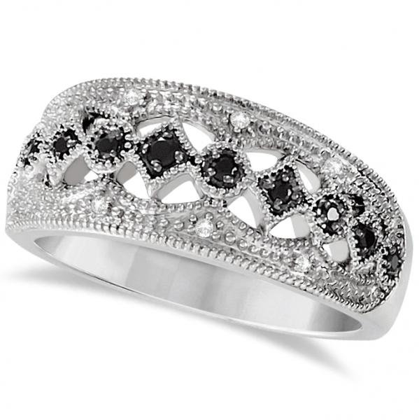 Ladies Black Spinel Wide Band Gemstone Ring Sterling Silver 0.16ctw