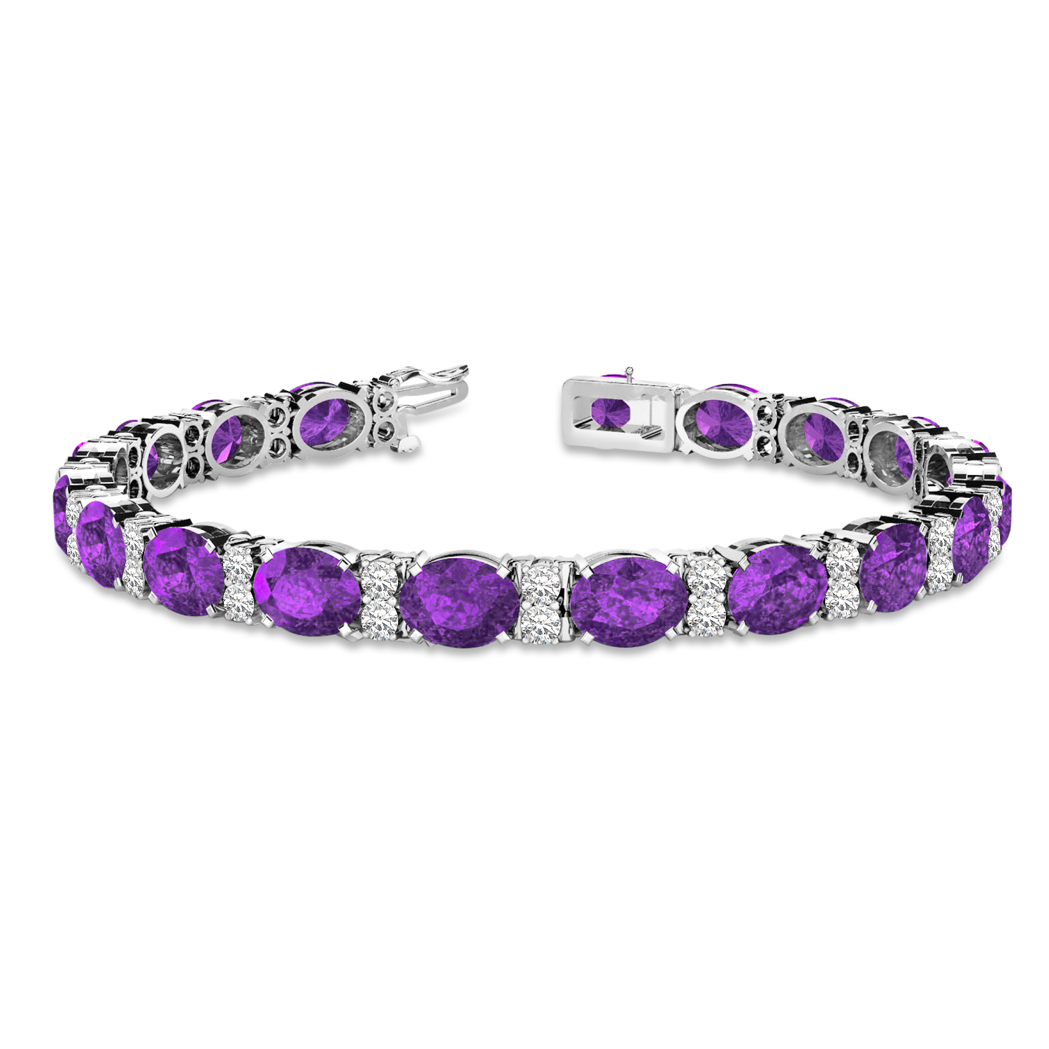 Diamond and Oval Cut Amethyst Tennis Bracelet 14k White Gold (13.62ct)