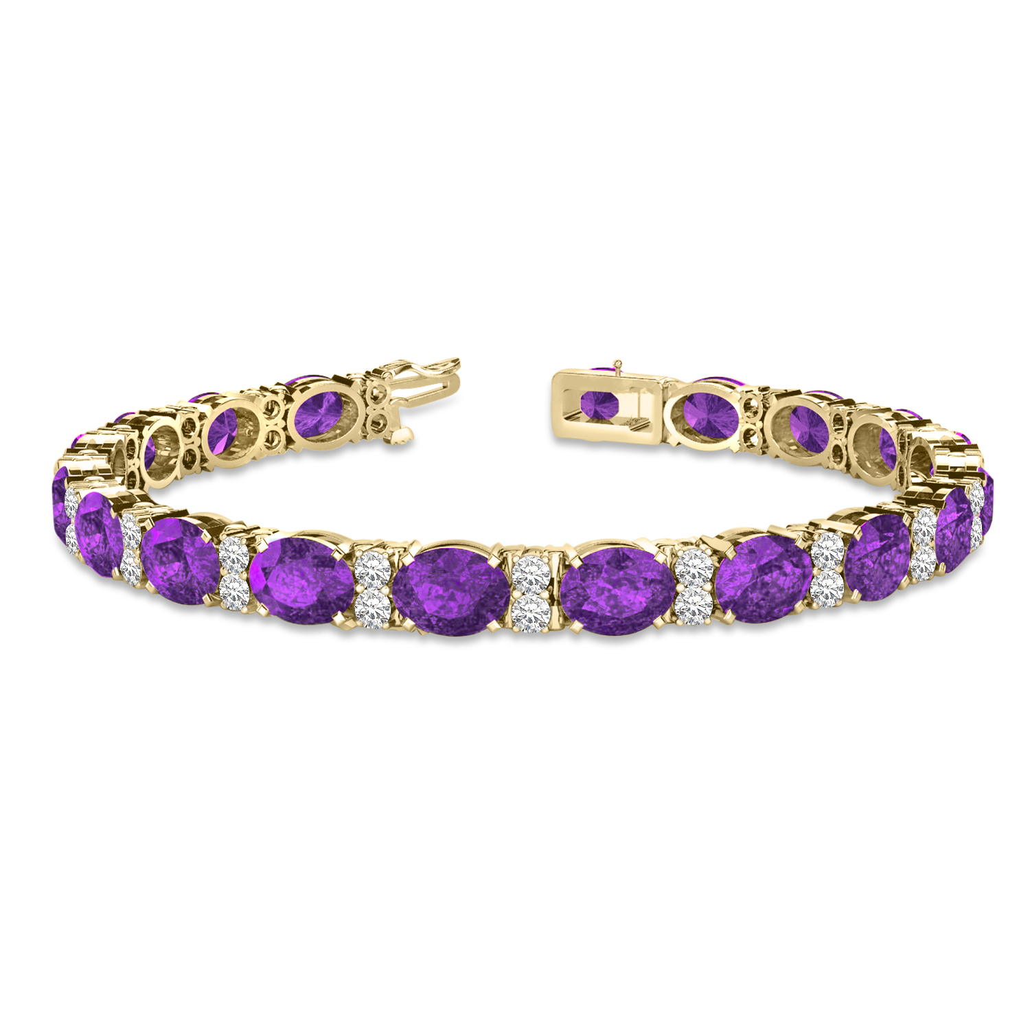 Diamond and Oval Cut Amethyst Tennis Bracelet 14k Yellow Gold (13.62ct)