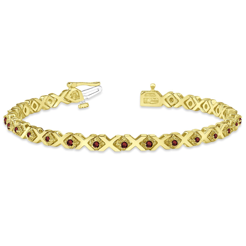 Garnet XOXO Chained Line Bracelet 14k Yellow Gold (1.50ct)