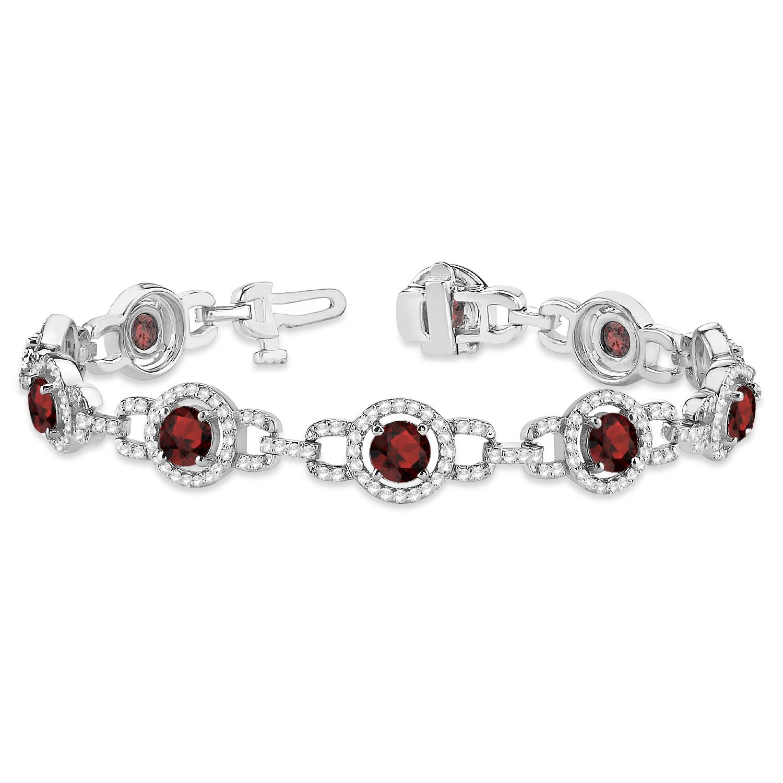 Luxury Halo Garnet and Diamond Link Bracelet 18k White Gold (8.00ct)