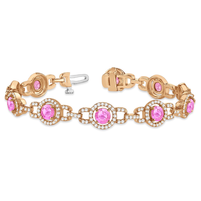 Pink Sapphire Halo Luxury Link Bracelet 14k Rose Gold (8.00ct)