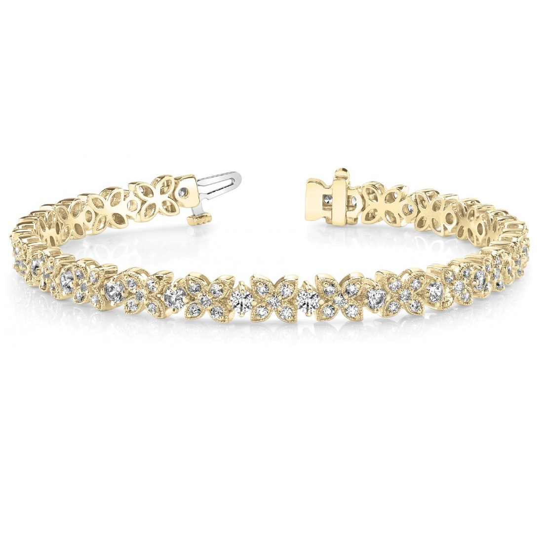 Diamond Floral Style Tennis Bracelet 18k Yellow Gold (4.16ct)