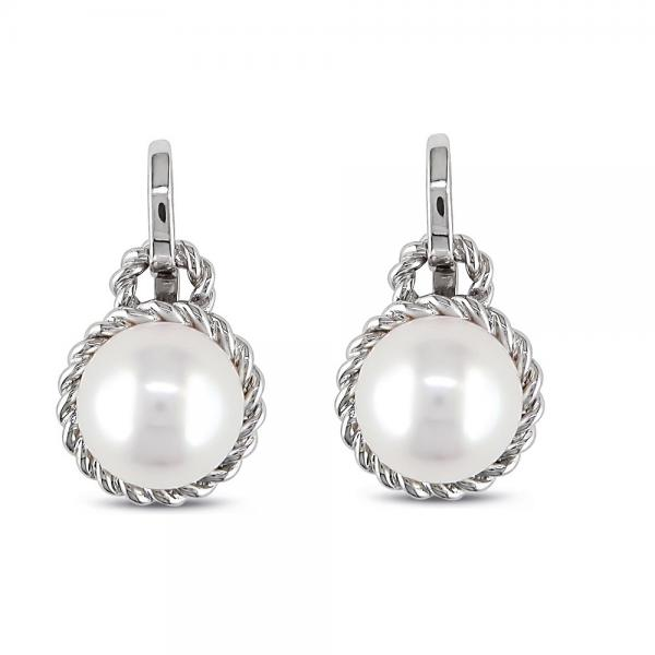 Cultured Freshwater White Pearl Earrings Rope Design 14k W. Gold 8.5mm