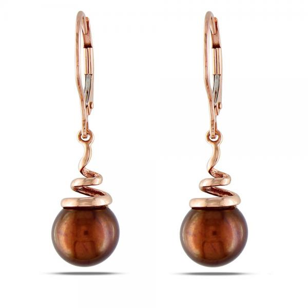 Chocolate Colored Freshwater Pearl Earrings in 14k Rose Gold 8-8.5mm