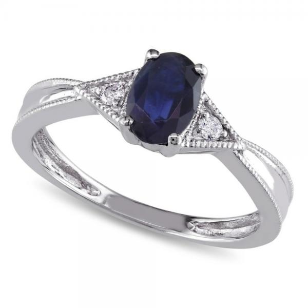 Oval Blue Sapphire & Diamond Fashion Ring in 14k White Gold (0.60ct)