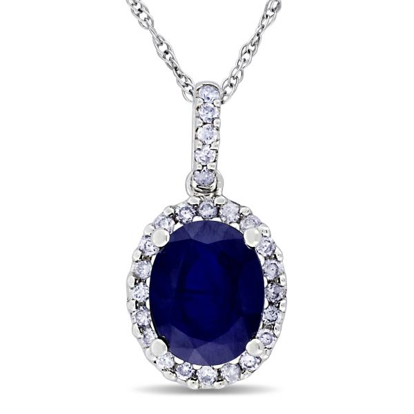 616fad79b Blue Sapphire & Halo Diamond Pendant Necklace 14k White Gold 2.90ct ...