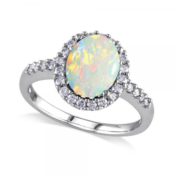 Allurez Oval Opal and Halo Diamond Engagement Ring 14k Wh...
