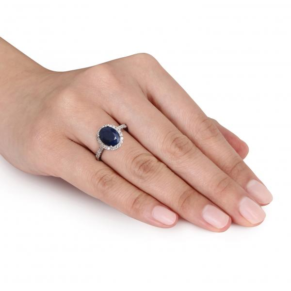 Oval Blue Sapphire & Halo Diamond Engagement Ring 14k W. Gold (3.90ct)