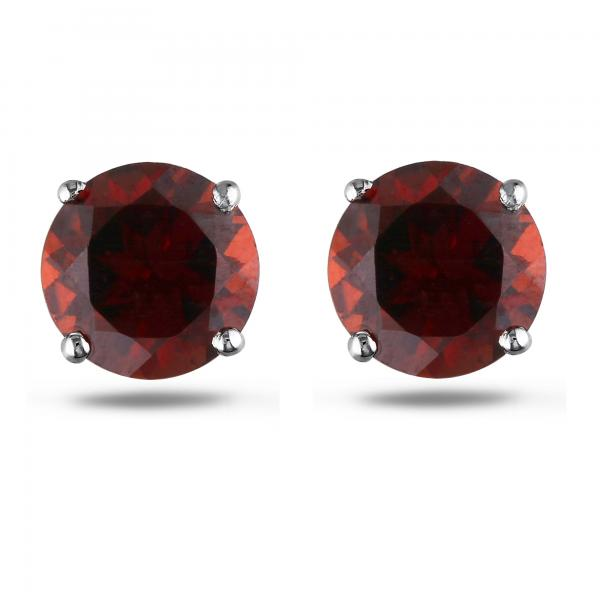Round Cut Solitaire Garnet Stud Earrings in 14k White Gold (1.30ct)