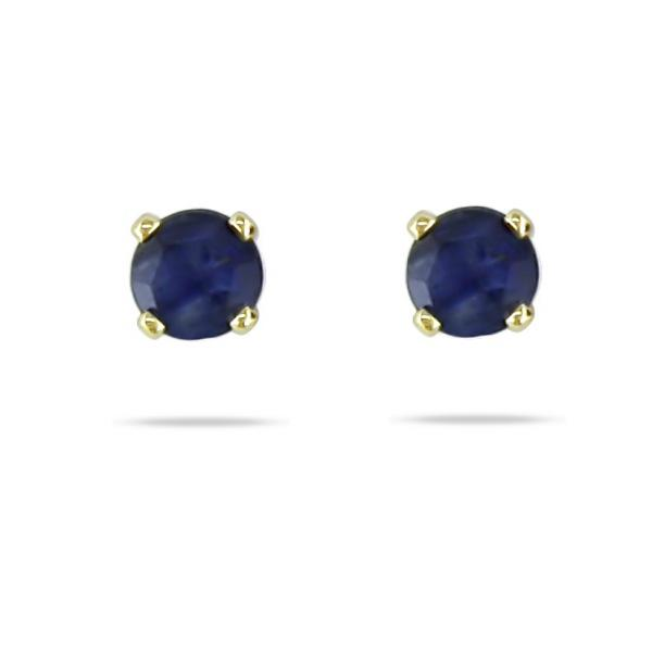 Blue Sapphire Round Solitaire Stud Earrings in 14k Yellow Gold 0.20ct