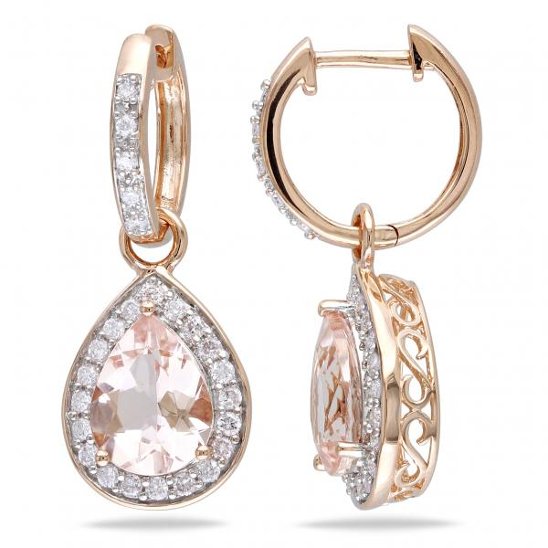 Diamond Pear Shaped Morganite Drop Earrings 14k Rose Gold