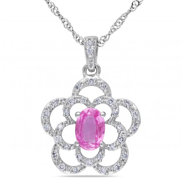 Pink Sapphire & Diamond Flower Pendant Necklace 14k White Gold 0.60ct