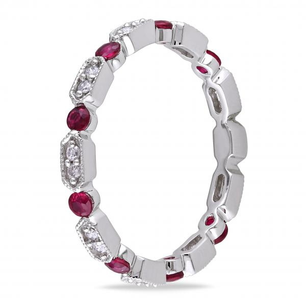 Ruby & Diamond Vintage Style Eternity Wedding Band 14k W. Gold 0.70ct