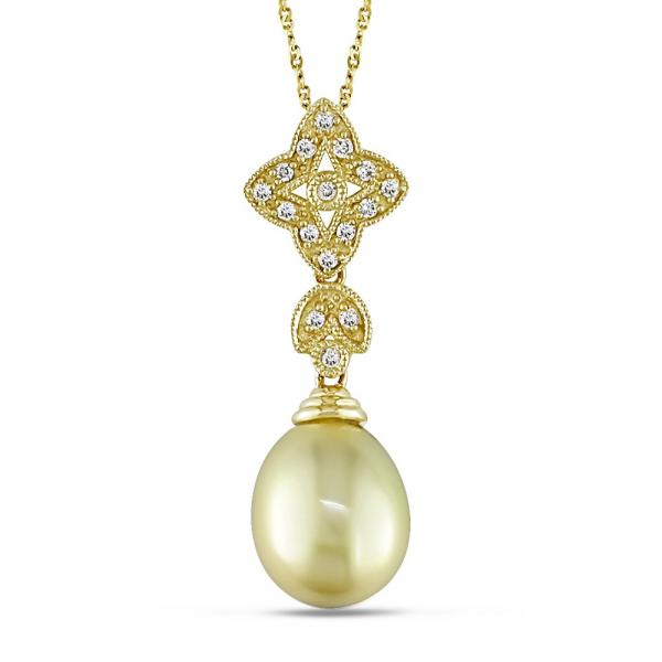 Golden South Sea Pearl Necklace w/ Diamond Accents 14k Y. Gold 9-9.5mm