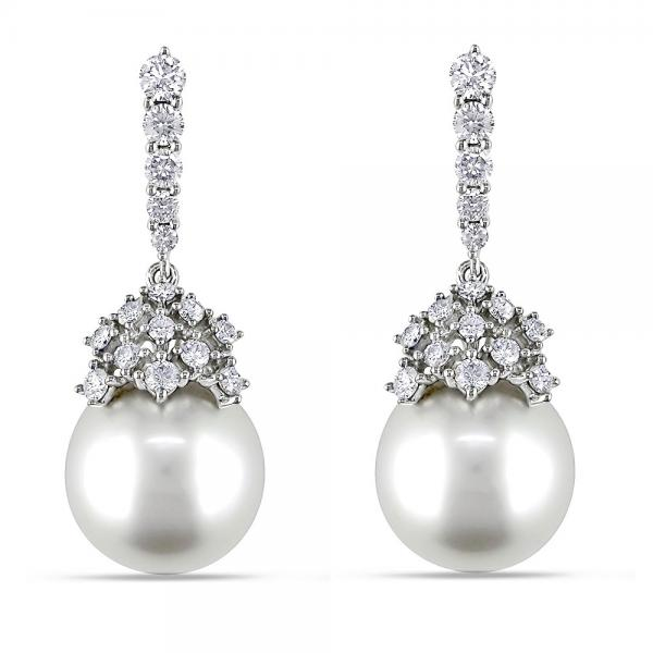 White South Sea Pearl Drop Earrings with Diamonds 14k W. Gold 10-11mm
