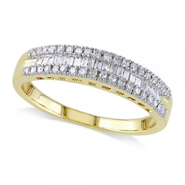 3 Row Baguette & Round Diamond Wedding Ring 14K Yellow Gold (0.25ct)