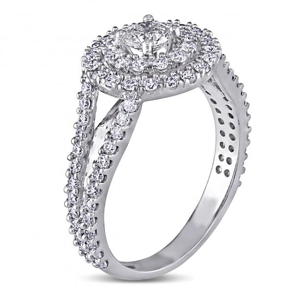 Double Halo Round Diamond Engagement Ring 14k W. Gold 1.00ct