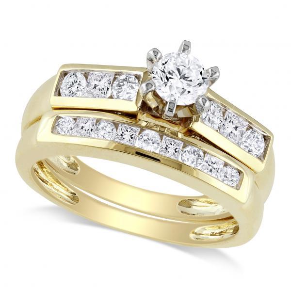 Bridal Set w/ Round & Princess Cut Diamonds 14k Yellow Gold (1.00ct)