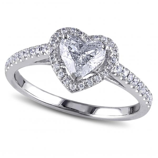 Heart Shaped Diamond Halo Engagement Ring 14k White Gold 1ct Dm214