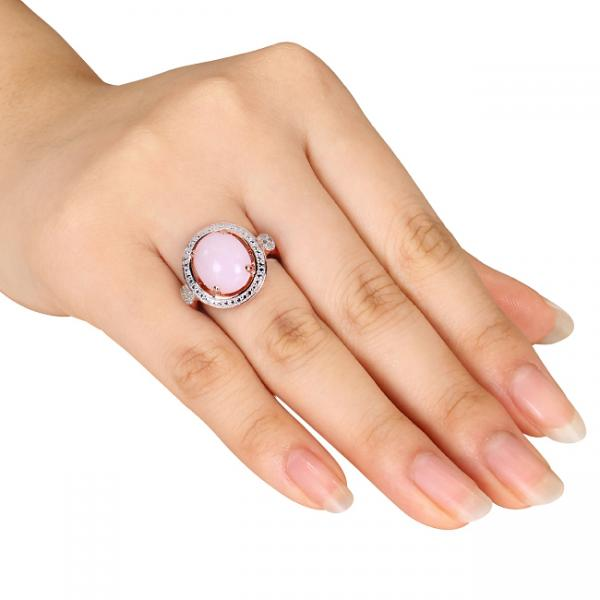 Round Pink Opal Ring w/ Diamond Side Stones Sterling Silver (2.04ct)