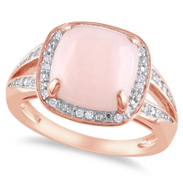 Pink Cushion Opal & Halo Diamond Fashion Ring Sterling Silver (5.10ct)