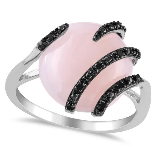 Pink Opal & Black Diamond Fashion Ring in Sterling Silver (5.56ct)